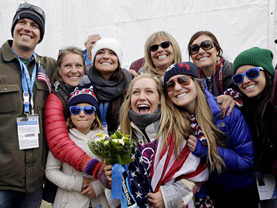 I still feel like I have a special connection with Jamie when she's in competition, says Joanie Anderson, seen her on hand with the rest of the Anderson clan to lend support in Sochi.