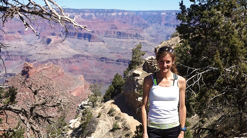 Alicia Shay stands at the Grand Canyon after a training run. She opened her Flagstaff, Ariz., home to fellow elite runners who want to train at elevation and, in doing so, created a community of support when she needed one most.