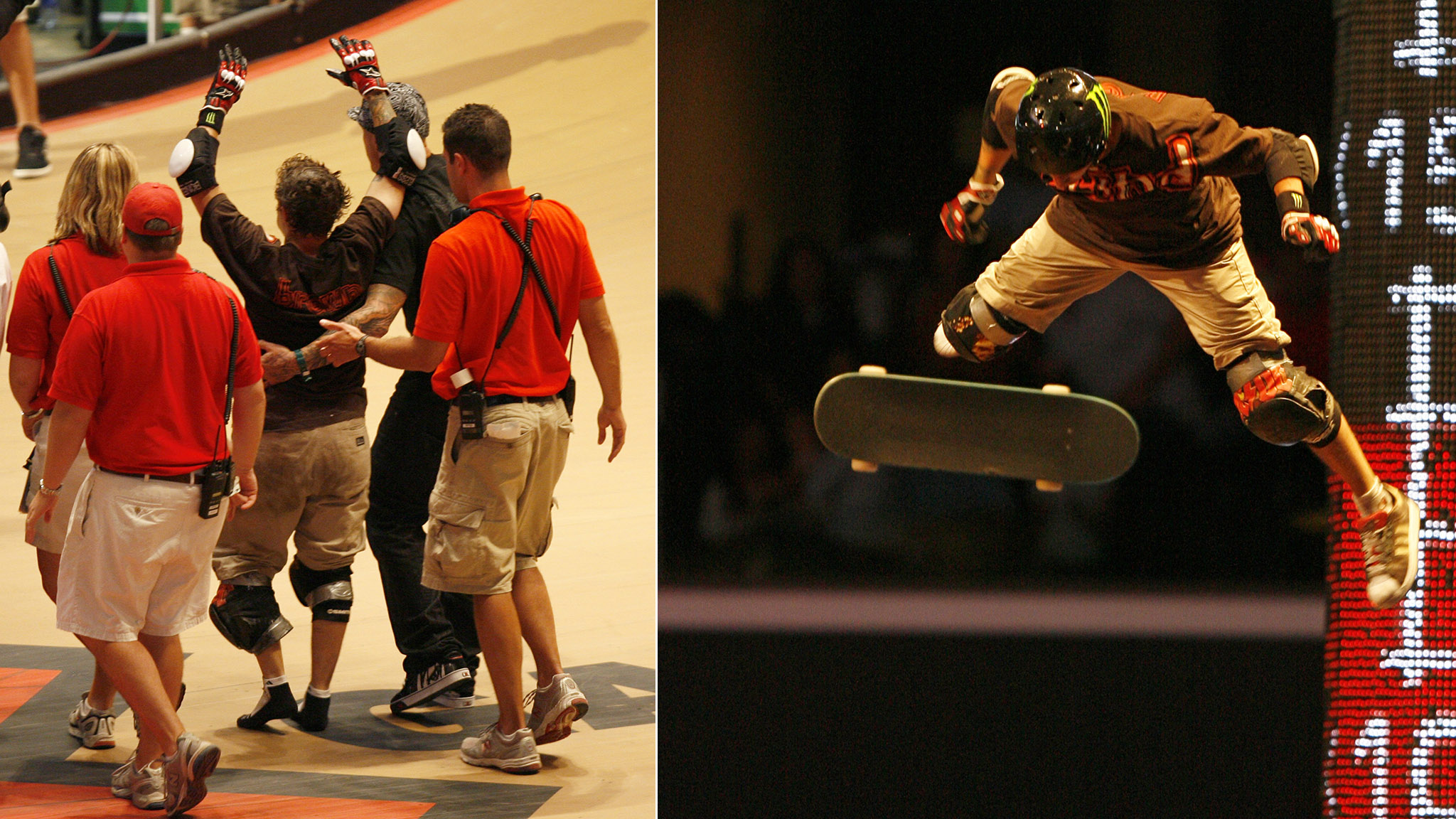 Jake Brown is escorted off the MegaRamp by X Games Medical (left) after free-falling from a MegaRamp air (right) at X Games in 2007.