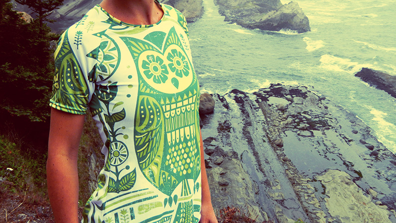 Printed and sewn in Portland, this line of running shirts uses technical fabrics and sublimation printing. Composed of 100 percent polyester fabric, it will wick moisture and breathe over many miles. Better yet, there are multiple designs to choose from, so you can buy based on your own taste.