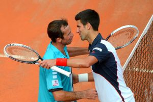 Two-time champion Novak Djokovic beat Radek Stepanek 6-3, 7-5 to advance to the third round of the Italian Open.