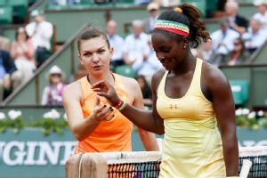 After squandering some opportunities, Sloane Stephens, right, could only congratulate fourth-seeded Simona Halep on her victory.