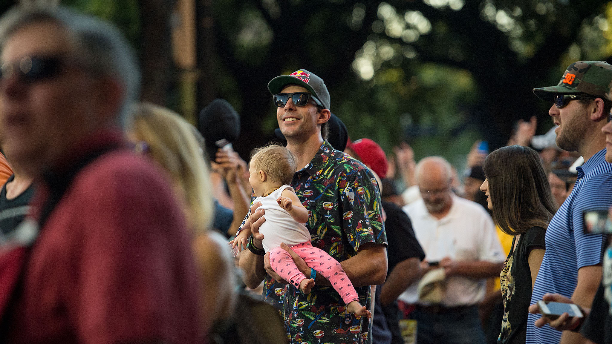 Travis Pastrana, who will compete in RallyCross on Saturday, watched the BMX Vert finals at the Texas State Capitol along with his daughter, Addy, and his wife, pro skateboarder Lyn-Z Adams Hawkins Pastrana.