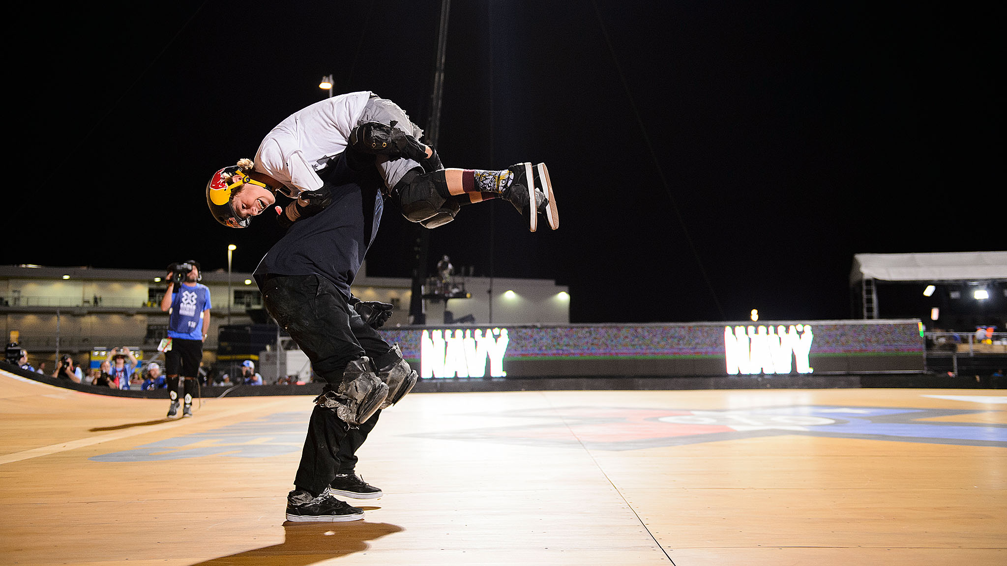 Fourteen-year-old Tom Schaar became the youngest person to win a Skateboard Big Air medal on Friday, upsetting veteran Big Air skater and MegaRamp pioneer Bob Burnquist, who happily settled for silver, as evidenced here.