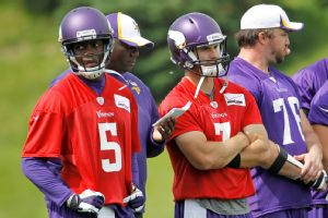 Teddy Bridgewater (5) and Christian Ponder are in the running, along with Matt Cassel (not pictured), to be the Vikings' starting quarterback.