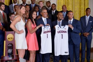Both the Connecticut men's and women's basketball teams visited the White House Monday to mark their NCAA championships.