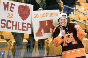 Anne Schleper set a school record for games played at Minnesota with 159.