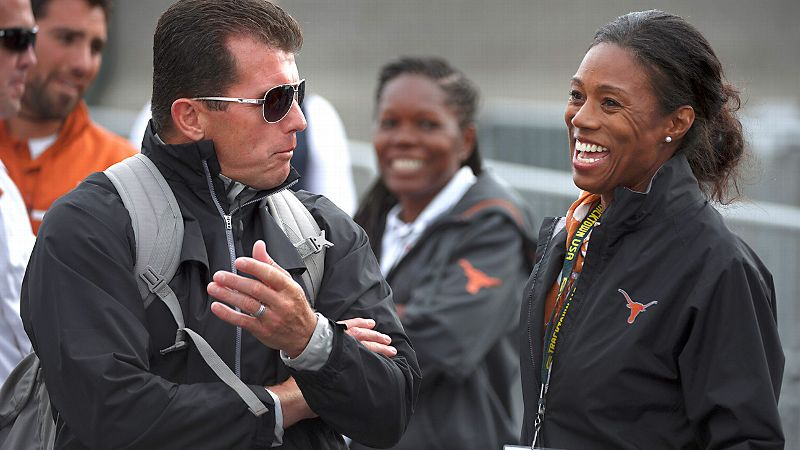When Mario Sategna, left, needed to build his coaching staff at Texas, Tonja Buford-Bailey, right, was at the top of his list.