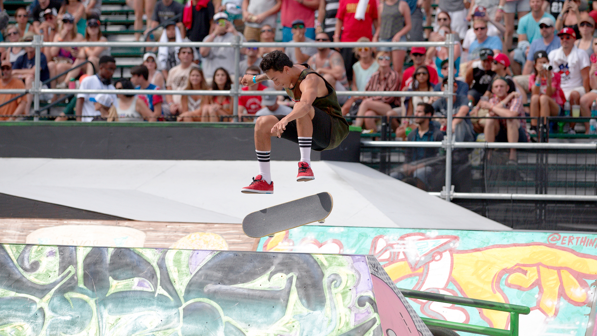 Nyjah Huston competes in Men's Skateboard Street at X Games Austin, where he won his sixth X Games gold medal. Huston is due in court on Thursday on a noise violation charge.