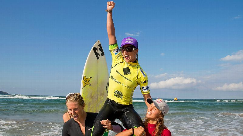 Courtney Conlogue's first World Tour victory was a turning point for her -- and competitors Sally Fitzgibbons and Stephanie Gilmore celebrated it like it was their own.