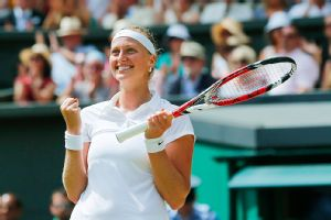 Petra Kvitova serves huge, and she'll need that against Eugenie Bouchard in the Wimbledon final.