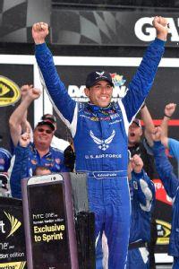 Aric Almirola won the rain-delayed and rain-shortened Sprint Cup race at Daytona International Speedway.