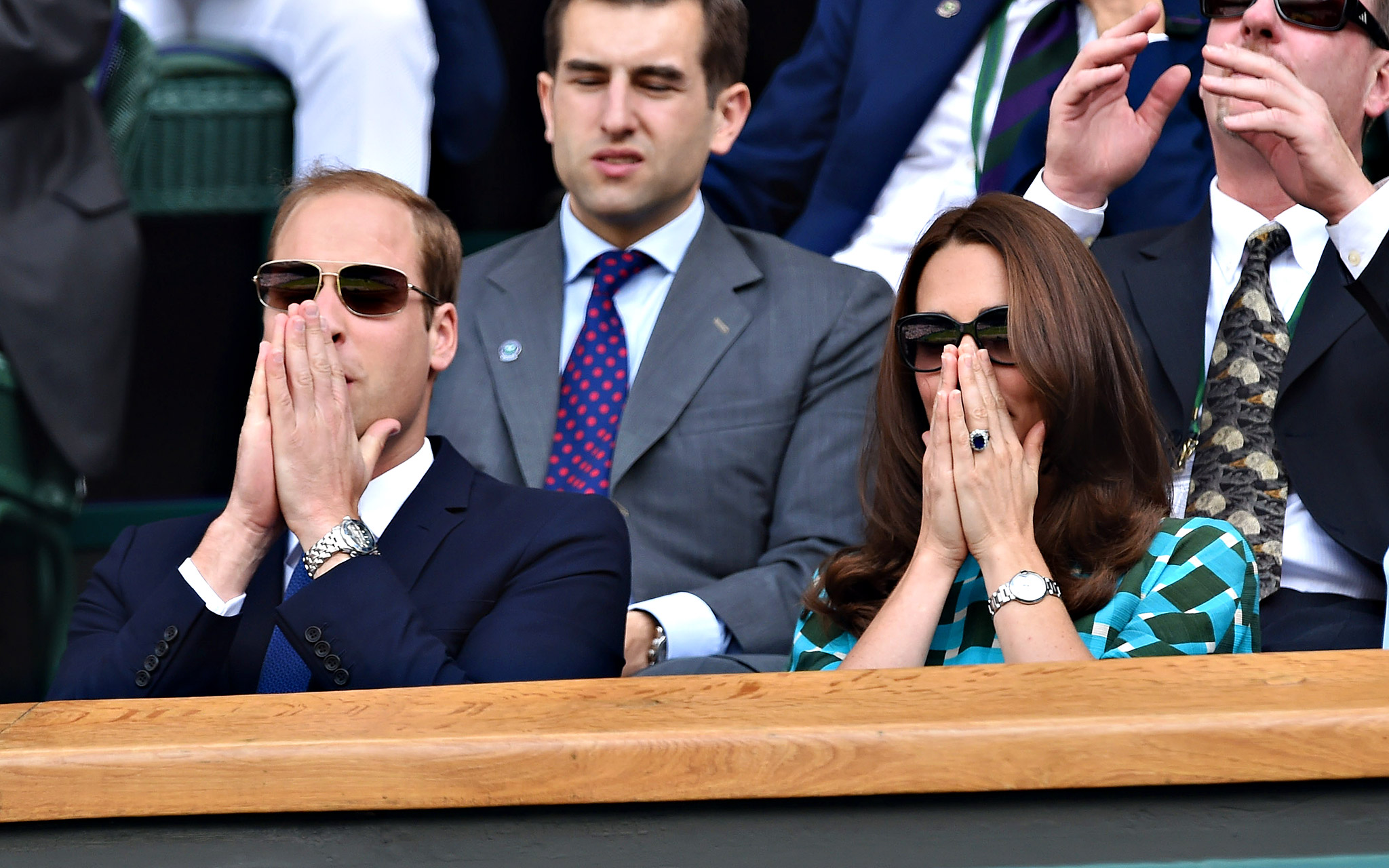 Kate, Duchess of Cambridge and Prince William, Duke of Cambridge attend the Wimbledon men's final between Novak Djokovic and Roger Federer.