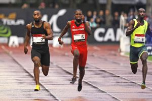 Tyson Gay crossed the finish line 0.12 clear of 2008 Olympic runner-up Richard Thompson.