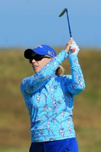Morgan Pressel, who finished tied for fourth at St. Andrews last year, shot an opening-round 70.