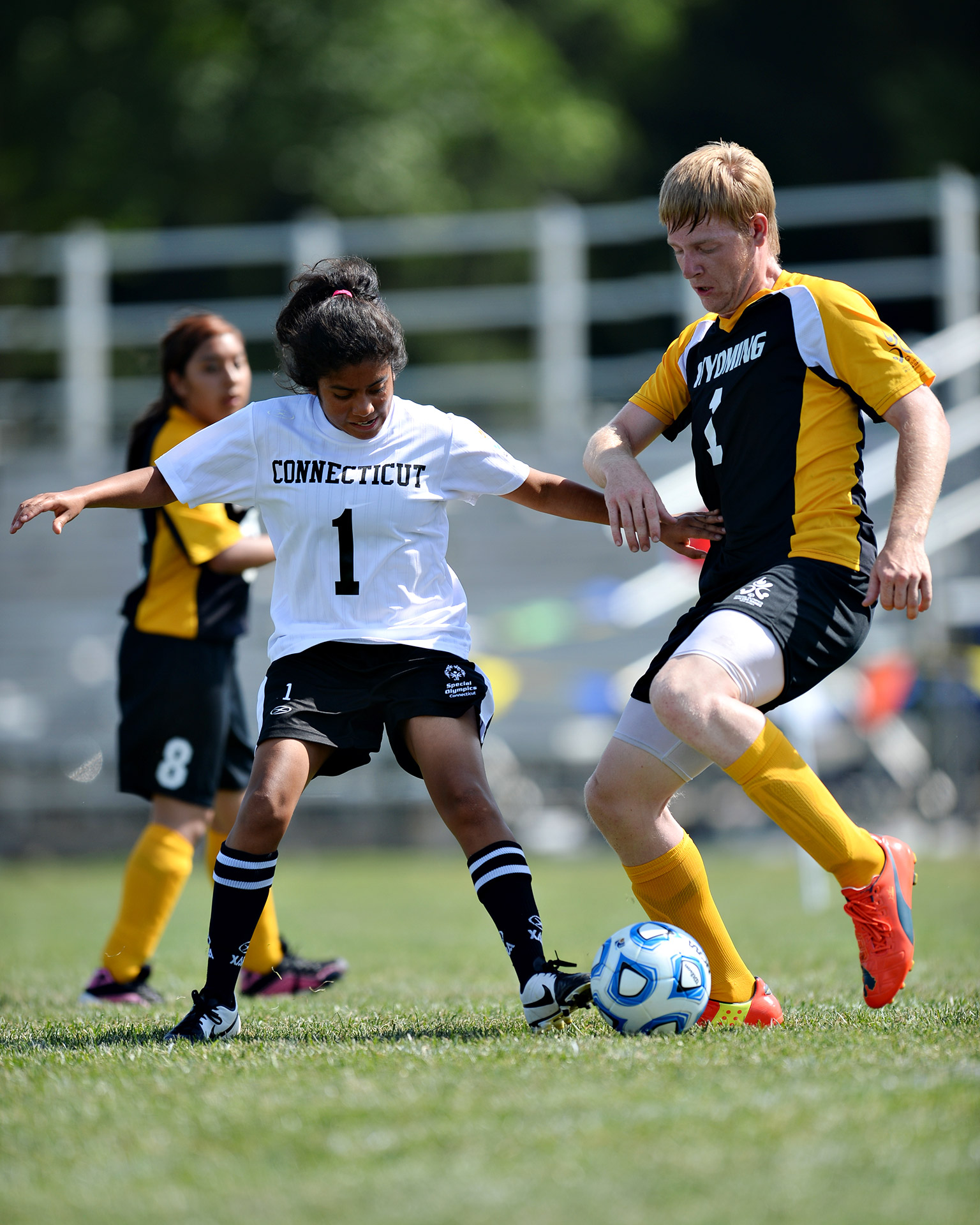 Unified Sports soccer teams (comprising athletes with and without intellectual disabilities) from Connecticut and Wyoming squared off in five-a-side soccer. The Connecticut team won bronze in its division.