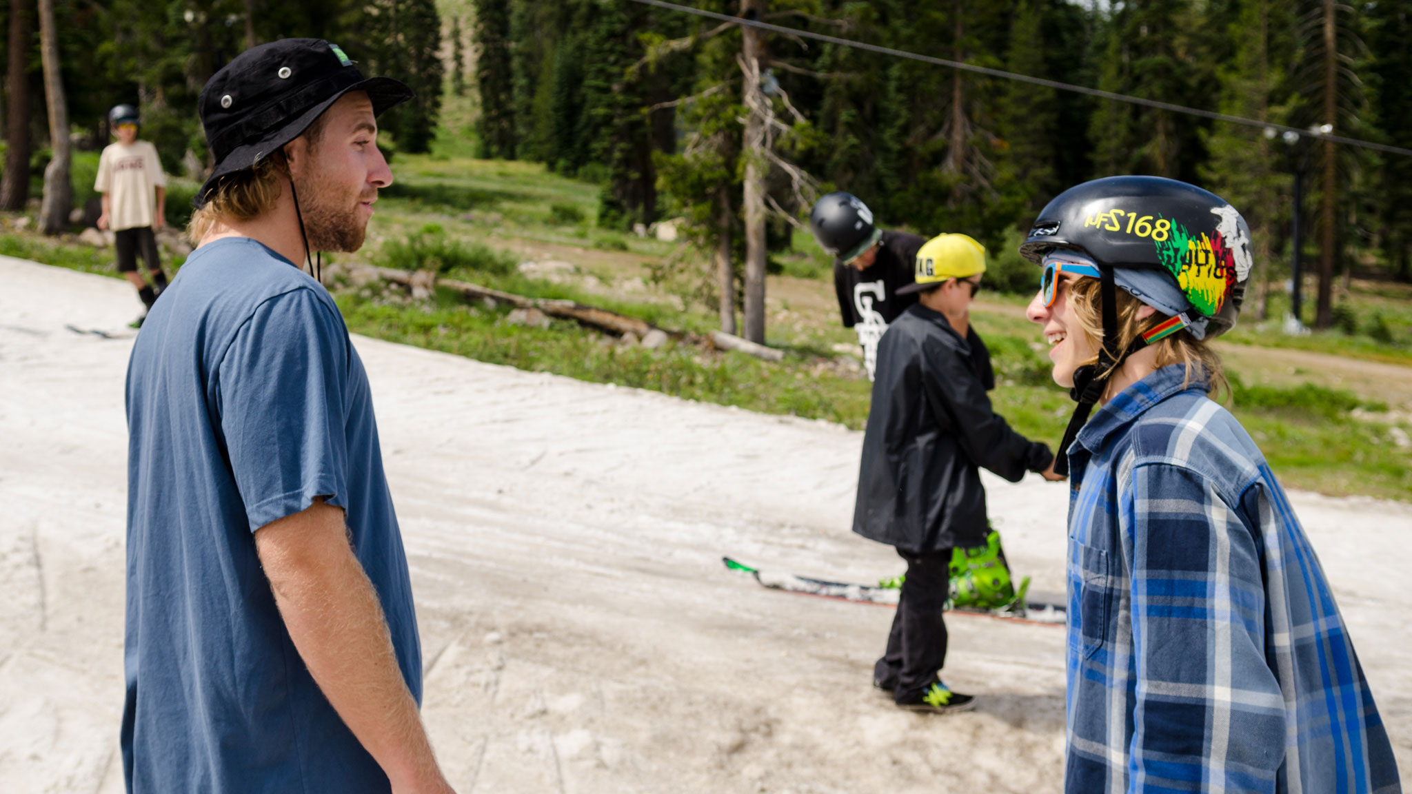 Sage Kotsenburg and a camper at Woodward Tahoe on Tuesday, before Kotsenburg flew to L.A. for the ESPYS.