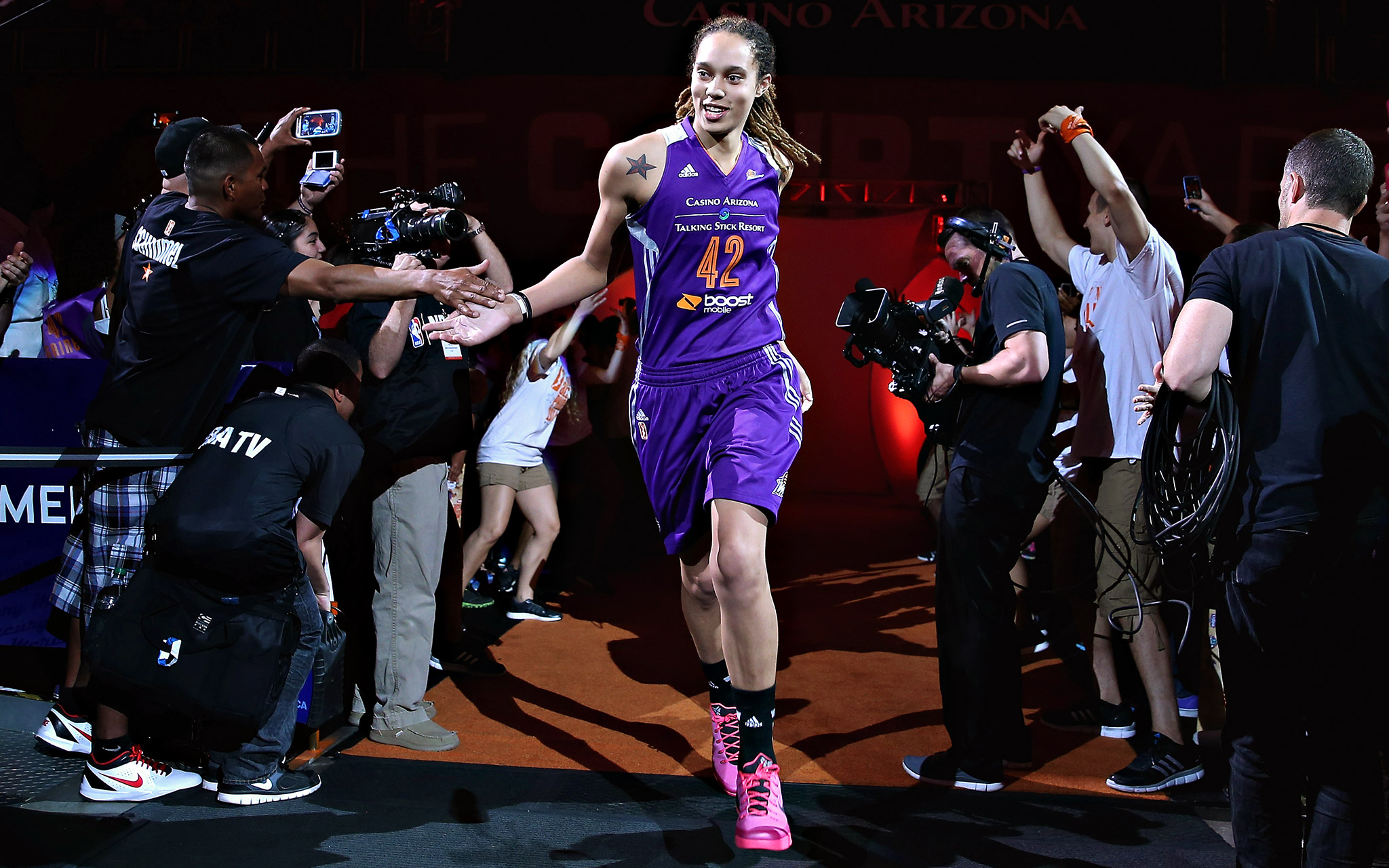 Western Conference All-Star Brittney Griner of the Phoenix Mercury is introduced at the WNBA All-Star Game at US Airways Center in Phoenix.
