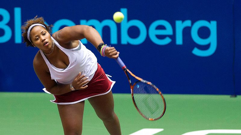 Taylor Townsend had to play doubles as a single Thursday night after her partner Liezel Huber was hit in the head with a ball and was unable to continue.