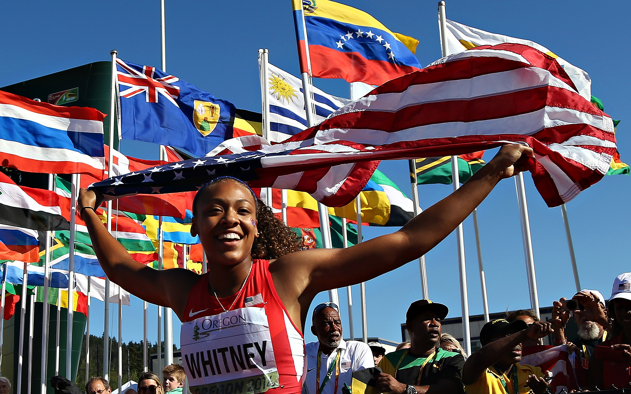 Kaylin Whitney of USA celebrates after running the anchor leg and winning the women's 4X100-meter relay during Day 5 of the IAAF junior world championships at Hayward Field in Eugene, Oregon.