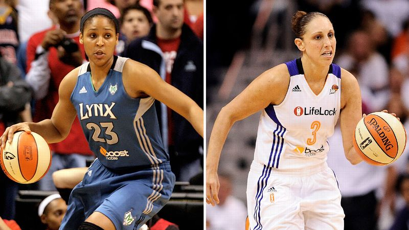 MVP Maya Moore of Minnesota, left, and Phoenix's Diana Taurasi, a former MVP, are among five No. 1 overall draft picks in the Western Conference finals.
