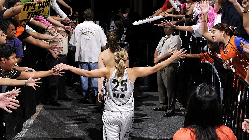 Becky Hammon a href=http://espn.go.com/wnba/story/_/id/11398376/playing-career-ends-san-antonio-becky-hammon-hardly-finishedretired from playing/a in August after a 16-season career that included four trips to the WNBA Finals. But as she steps into her role as an assistant coach for the San Antonio Spurs -- the first full-time female coach in the NBA -- espnW's Mechelle Voepel takes a look back at the long career of the seven-time WNBA All-Star, two-time All-WNBA First Team honoree and three-time NCAA All-American.
