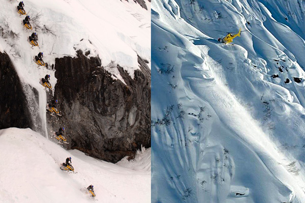 As a professional snowmobiler, Jay Quinlan pioneered the freeride discipline (left), starred in films by Matchstick Productions and helped introduce the sport to X Games viewers. Now 35, he's trained to fly everything from commercial airplanes to helicopters large and small (right).