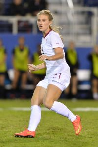 Previously a goal scorer, Florida State's Michaela Hahn learned how to defend after moving to midfield.