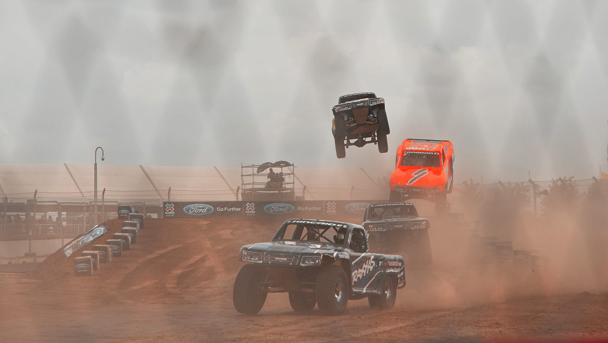 Keegan Kincaid races during finals at the debut of Stadium Super Trucks at X Games Austin 2014. The event will be called Off-Road Truck Racing this year.
