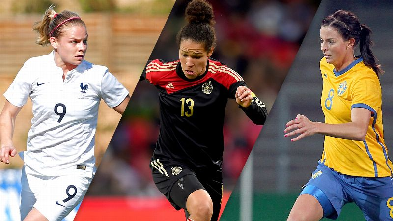 Eugenie Le Sommer, Celia Sasic and Lotta Schelin