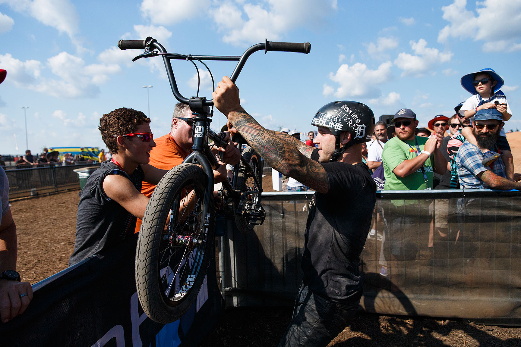 Redline Bicycles pro Brandon Dosch had a rough go in BMX Dirt and failed to break the top five in the finals. Dosch, an Austin, Texas, native who digs trails in the area, gave his bike to a spectator at the end of the competition. Then he drove back to Austin to build a new bike.