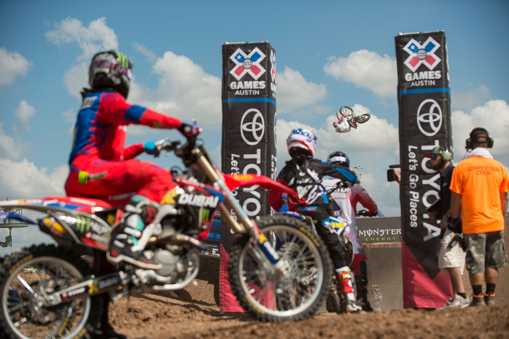 Beau Bamburg, who earned the nickname The Basher, competes in the fan-voted Moto X Best Whip on Sunday, as his fellow competitors look on. Bamburg, who also competed in Speed & Style in Austin, finished sixth in Best Whip, while Jarryd McNeil won his first gold in the discipline.