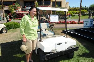 Amy Alcott w/Katherine Hepburn golf cart