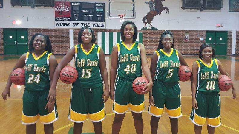 Jasmine Walker, 40, will be a central figure during the upcoming signing period. The No 23 prospect -- pictured with, from left, Tia Manora, Kayla Jackson,  Tyesha Wheeler and Ahyiona Vason -- has narrowed her choices down to four schools.
