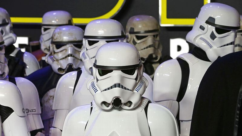 Stormtroopers arrive for the European Premiere of 'Star Wars: The Force Awakens' at Leicester Square on December 16, 2015 in London,