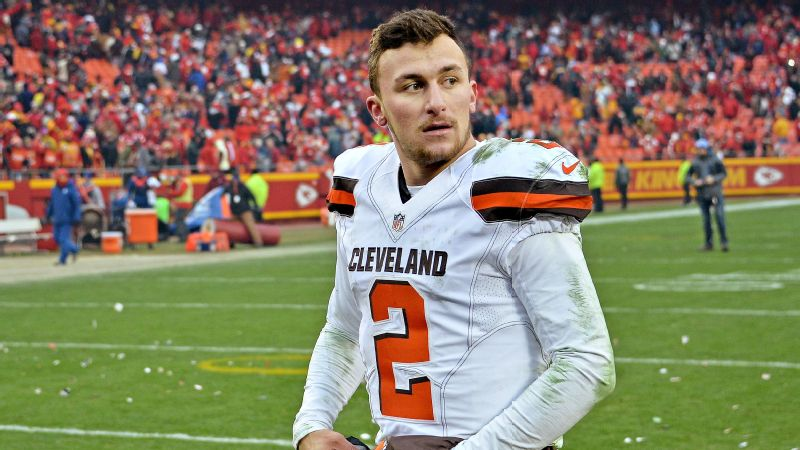 Cleveland Browns quarterback Johnny Manziel walks off the field after losing to the Kansas City Chiefs on Dec. 27 at Arrowhead Stadium.