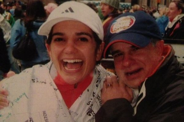 Allie Burdick with her father, Alex Capo, after Burdick finished the Boston Marathon in 2007.