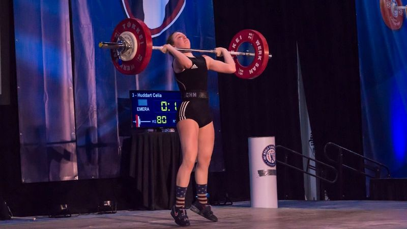 Celia Huddart competes at the recent USA Weightlifting Junior National Championship.