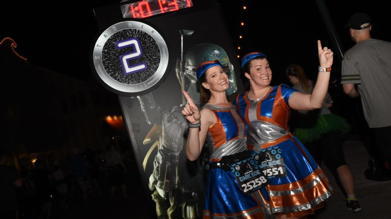 These Star Tours flights attendants were on hand to assist during the Dark Side Challenge.