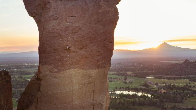 Find Paige! (Hint: She's in the middle of that rock formation.) In May of 2014, Paige Claassen completed Just Do It (5.14c), a landmark climb in Smith Rock, Oregon.