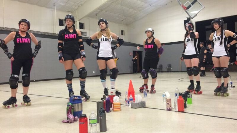 Jilly Shark, Kategory 5, AshTray, Jojo McBruiseher, Block Mamba and SlapHer Sally take a break during final practice before their bout against Grand Raggidy's B-team on April 6.