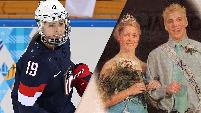Gigi Marvin, U.S. women's hockey forward, with T.J. Oshie, Washington Capitals right wing