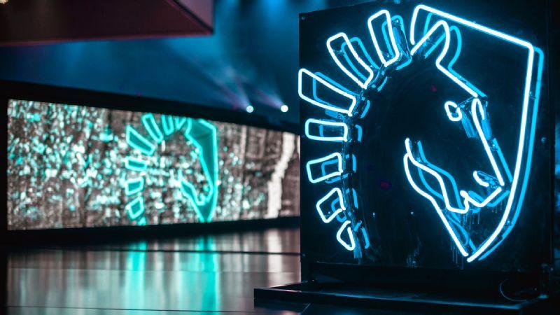 Team Liquid's logo shines bright at the Mandalay Bay Events Center in Las Vegas.