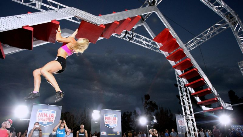 Stuntwoman Jessie Graff scaling an obstacle on Sept. 9, 2015, in Los Angeles.