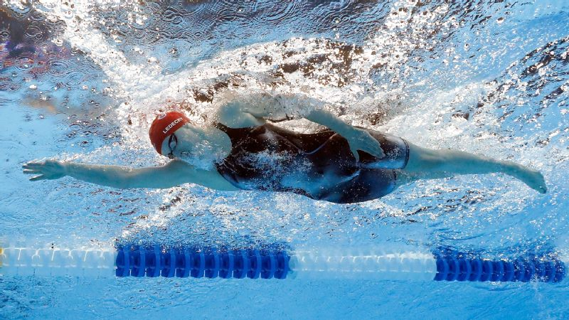 Katie Ledecky owns all of the top 10 times in the history of women's 800-meter freestyle.