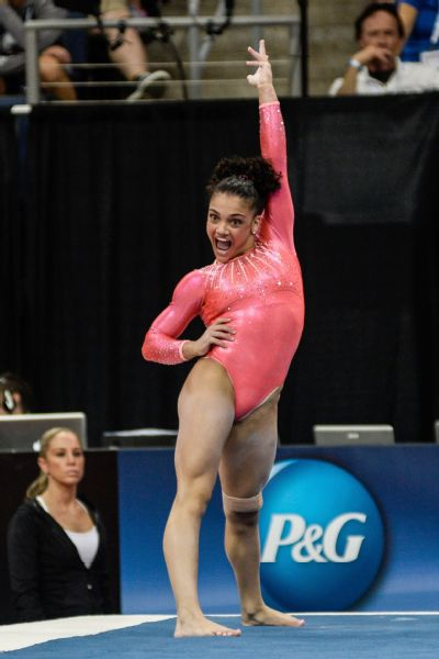 Laurie Hernandez is perhaps most impressive on the floor, where she combines entertaining choreography with world-class tumbling.