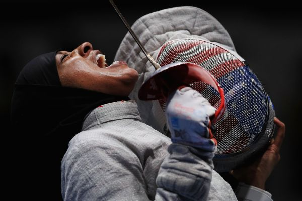 Muhammad during the Women's Sabre Team Semifinal at the Rio Olympics.