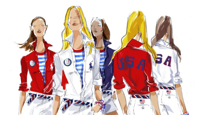 A sketch of the Polo Ralph Lauren looks for the U.S. women at the closing ceremony.