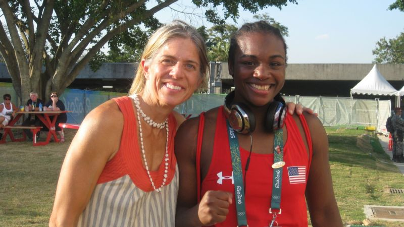 Claressa Shields with T-Rex producer Sue Jaye Johnson after Shields' first fight at the Rio Olympics.