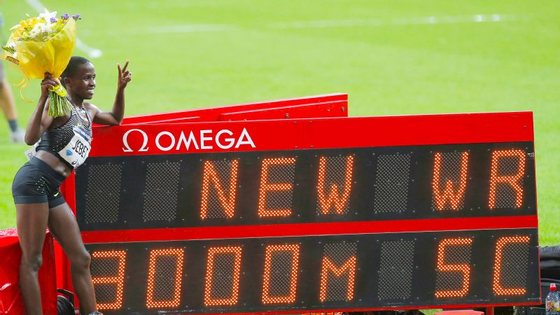 Ruth Jebet clocked 8 minutes, 52.78 seconds in the 3,000-meter steeplechase at the Diamond League meet in Paris, breaking the world record by six seconds.